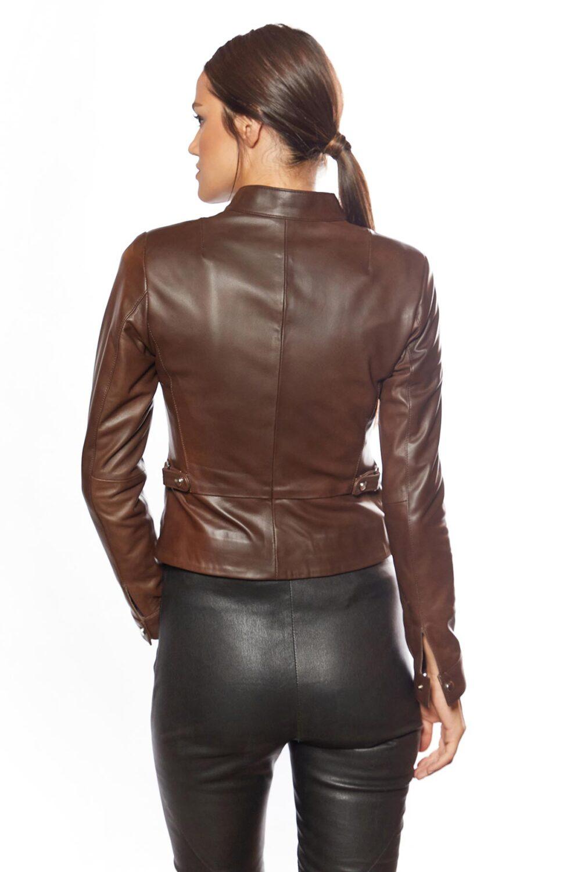 Flora Genuine Leather Woman Jacket Brown