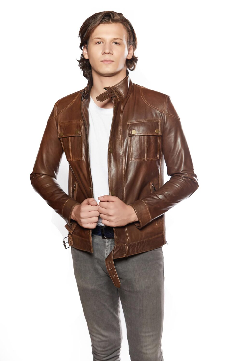 genuine leather jacket mens ebay