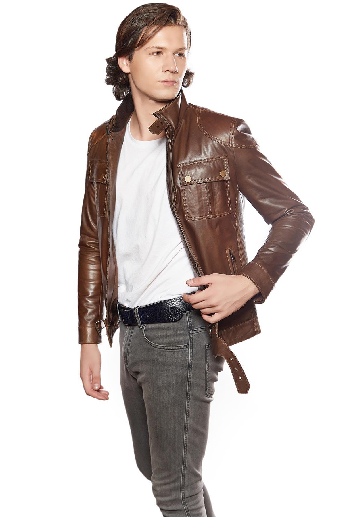 embroidered genuine leather jacket