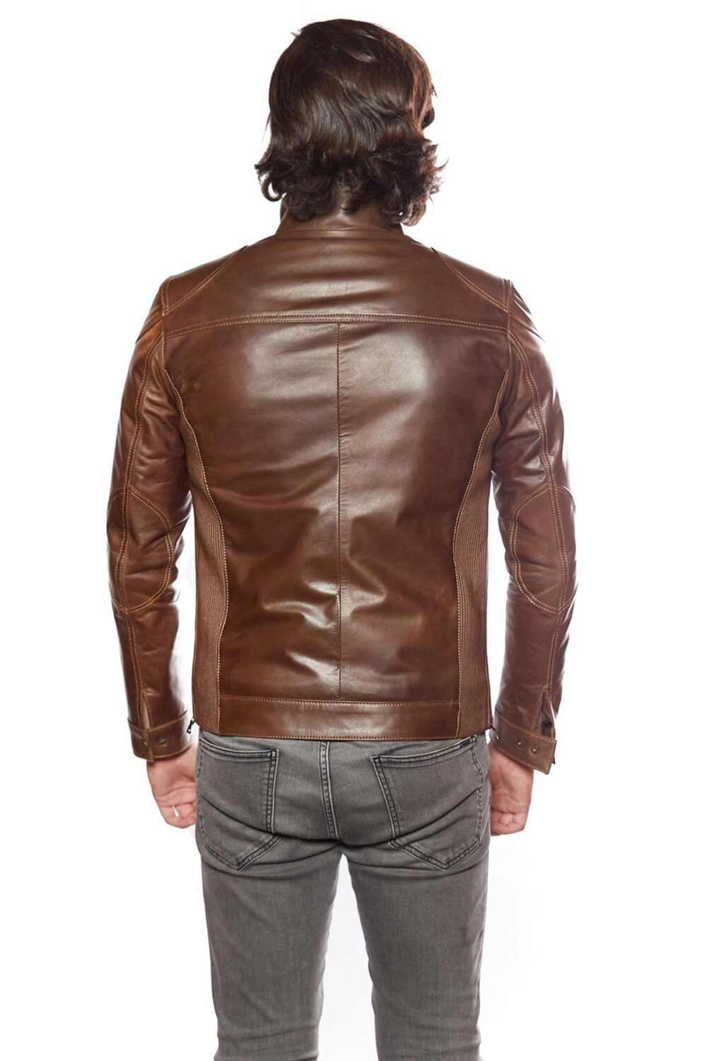 mens leather jackets brown