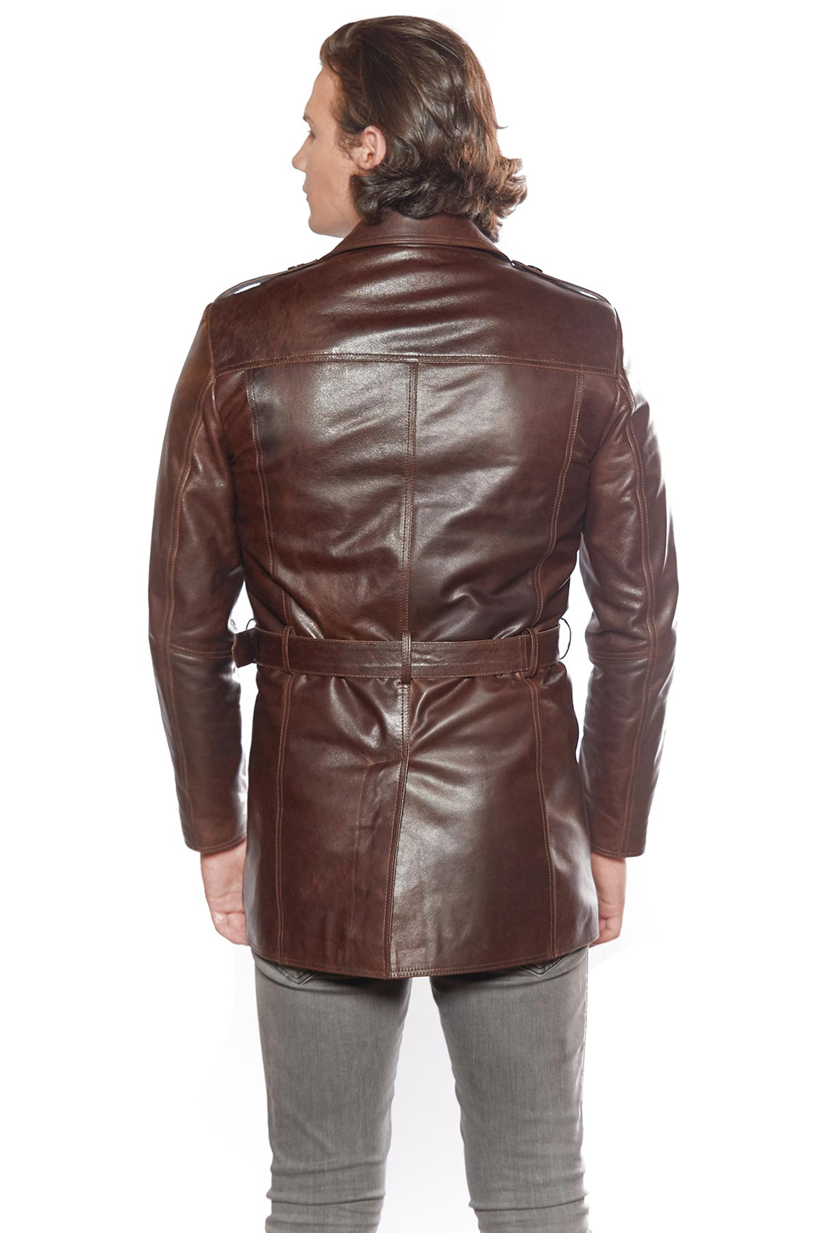 leather jacket with belt mens