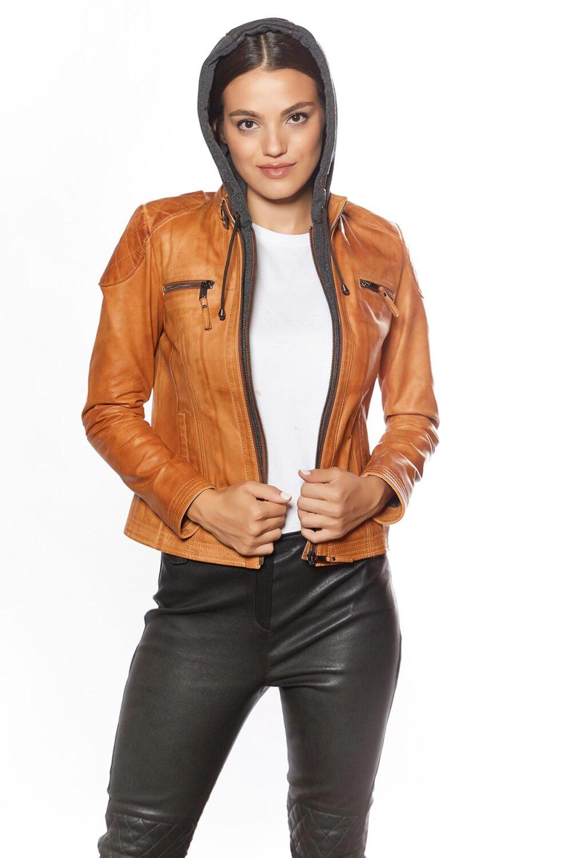 Mais Hooded Sport Women Leather Jacket