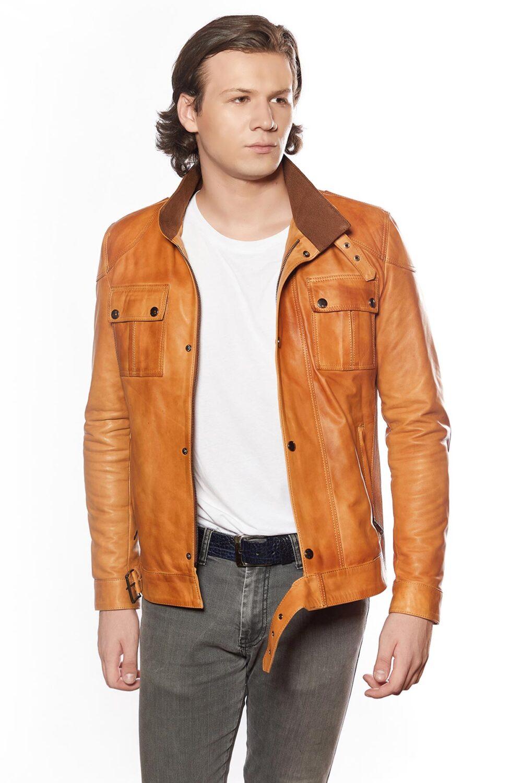 genuine leather long coat
