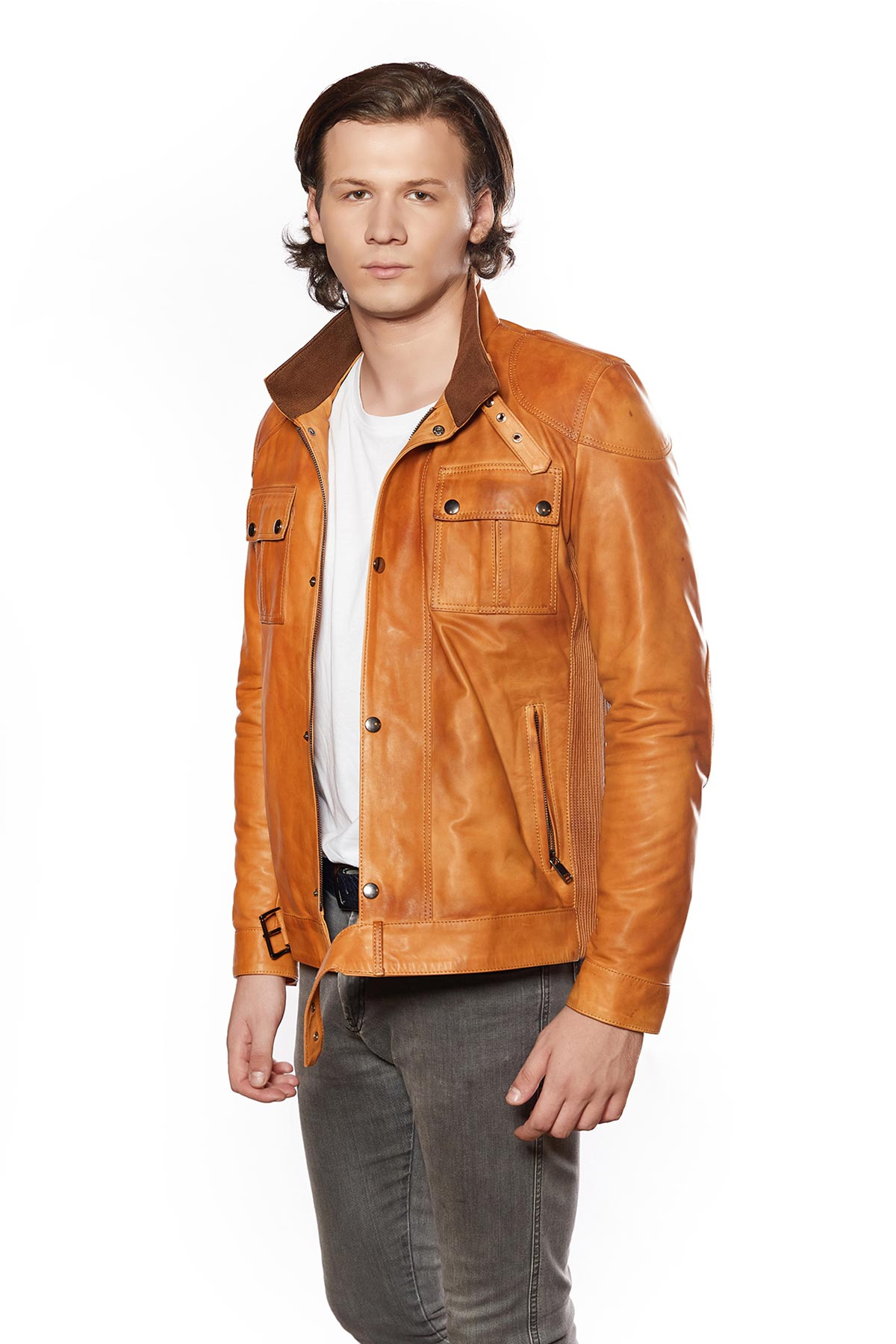 mens leather trench coat long