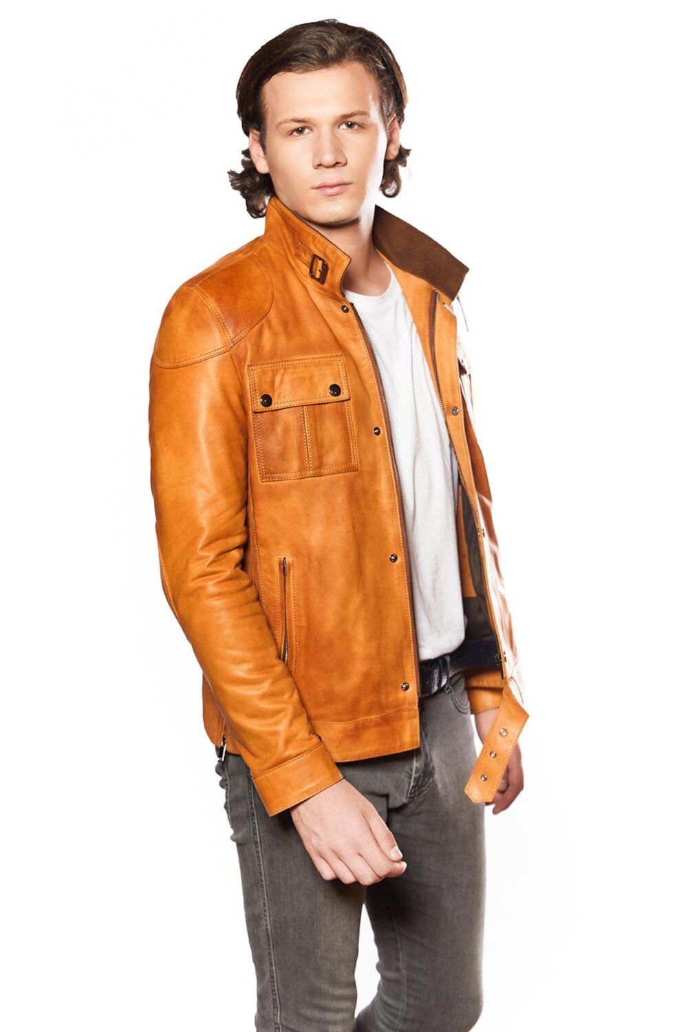 buy mens leather trench coat