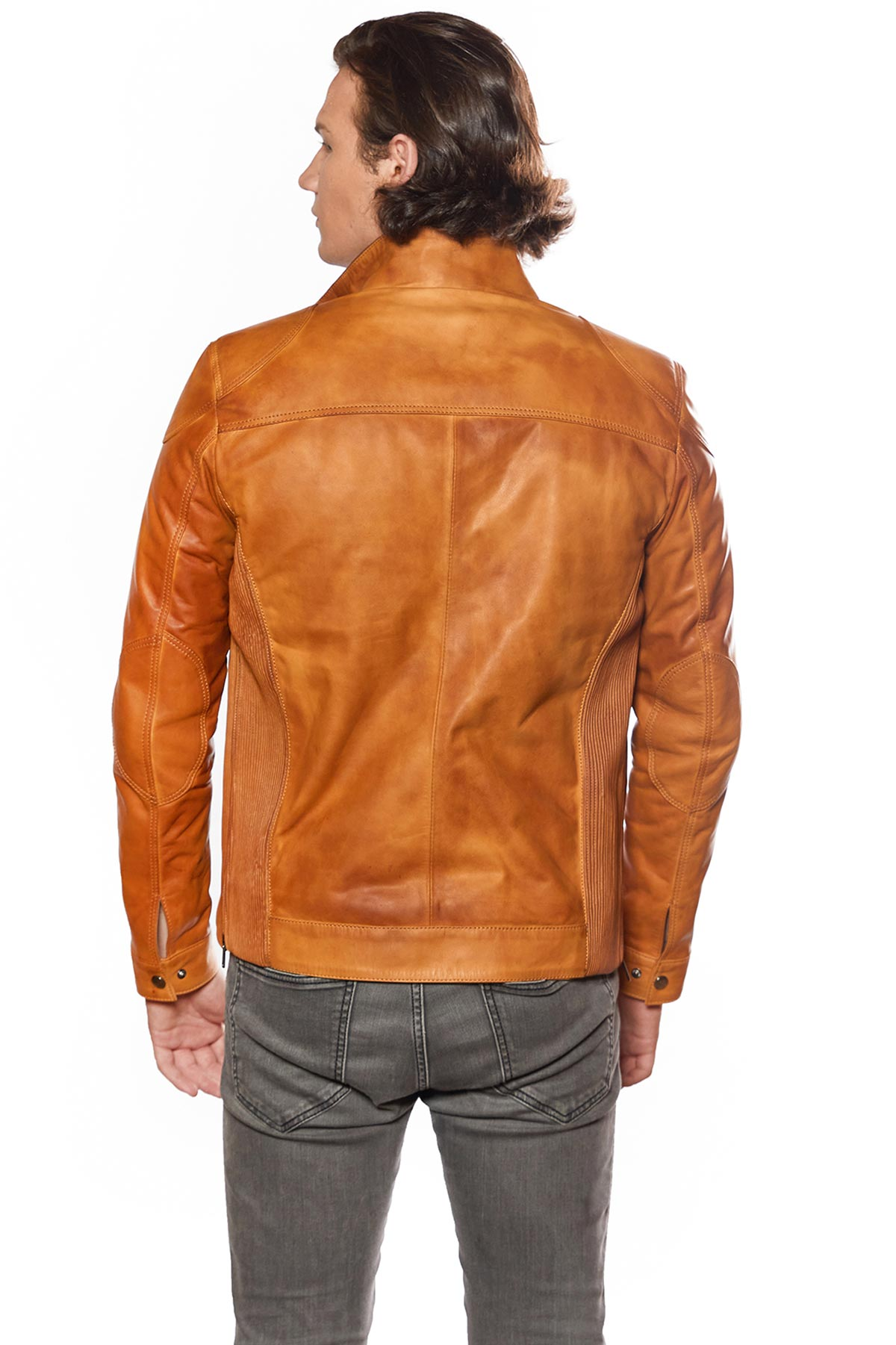 mens long leather trench coat
