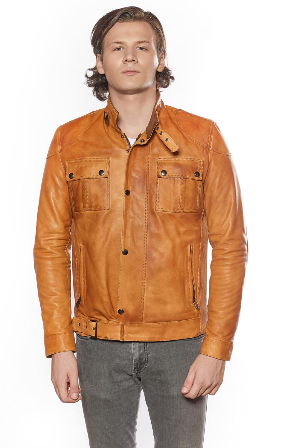 mens brown leather trench coat full length