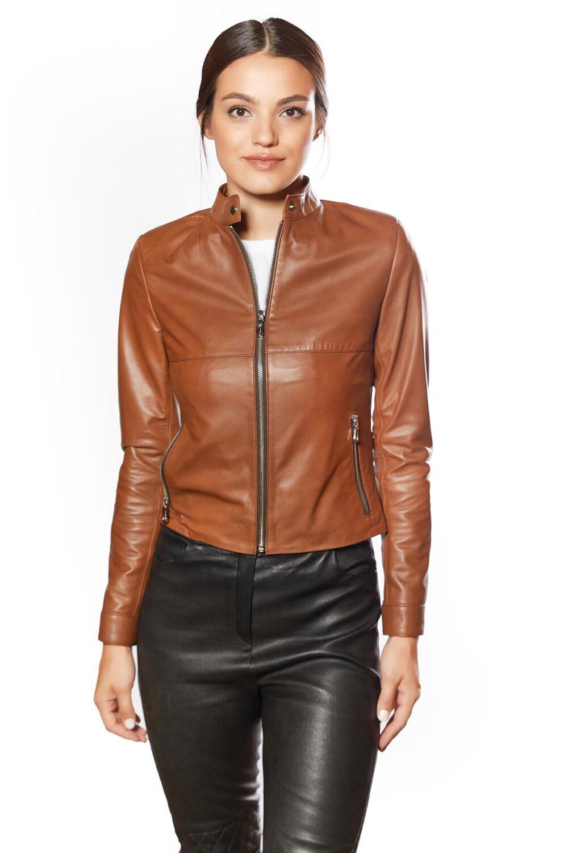 Flora Genuine Leather Women's Jacket Tobacco