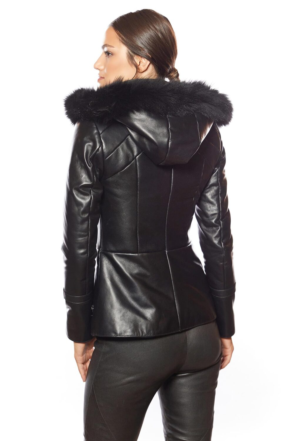 womens black leather jacket with fur collar