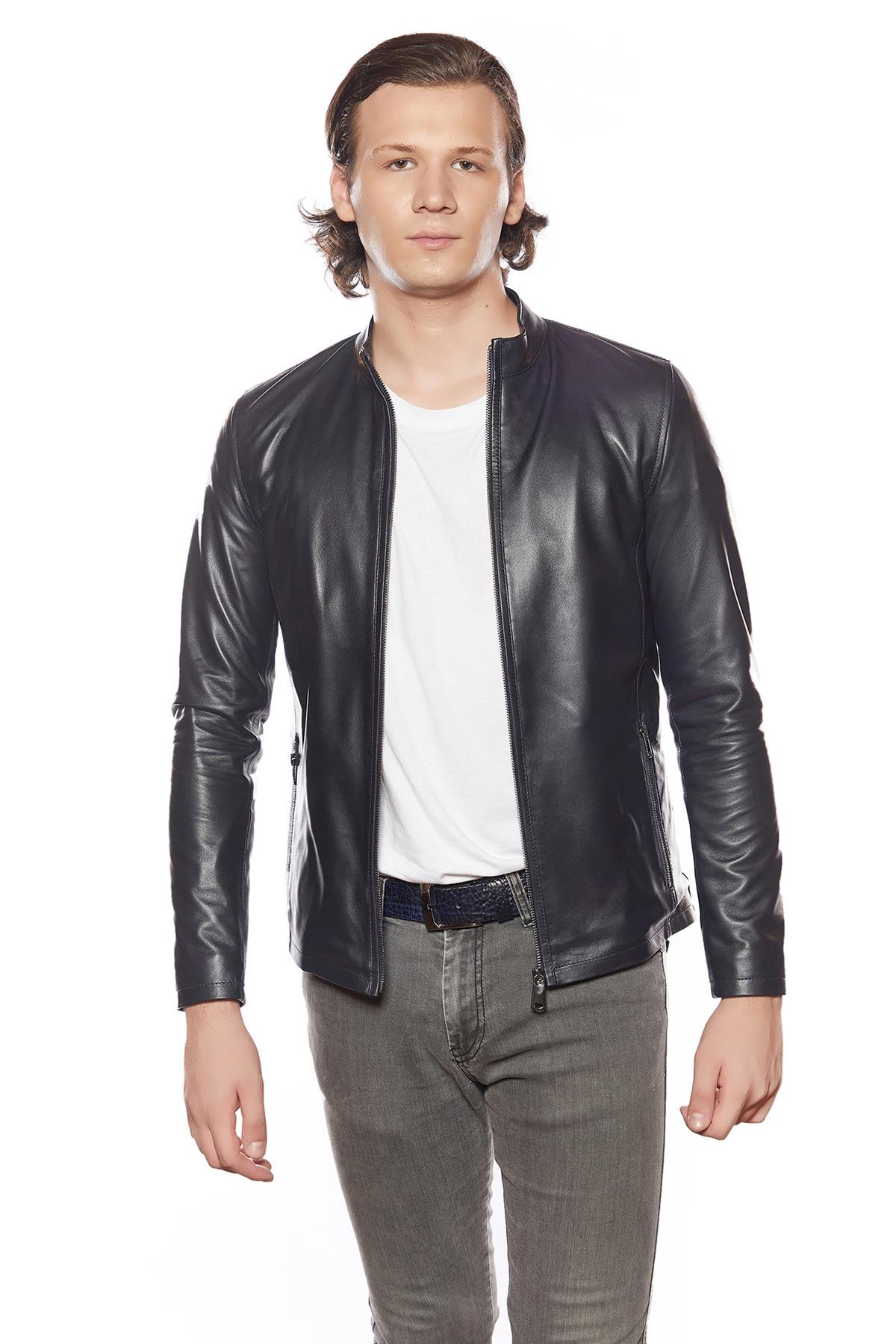 leather windbreaker