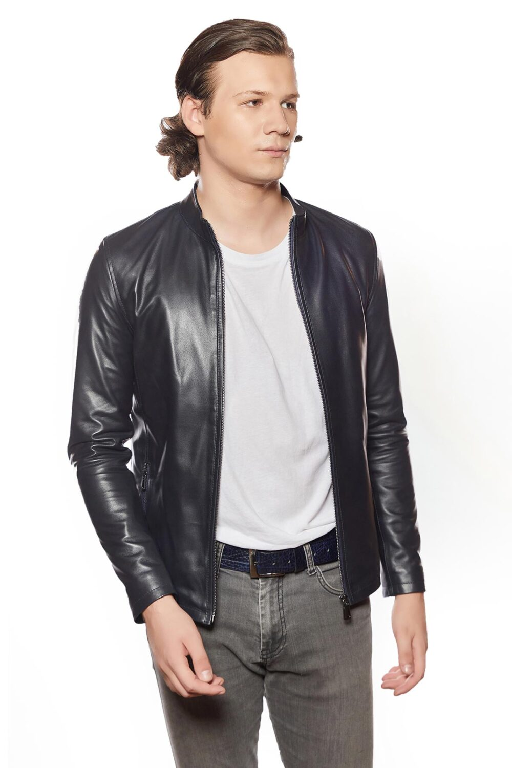 lambskin leather moto jacket black