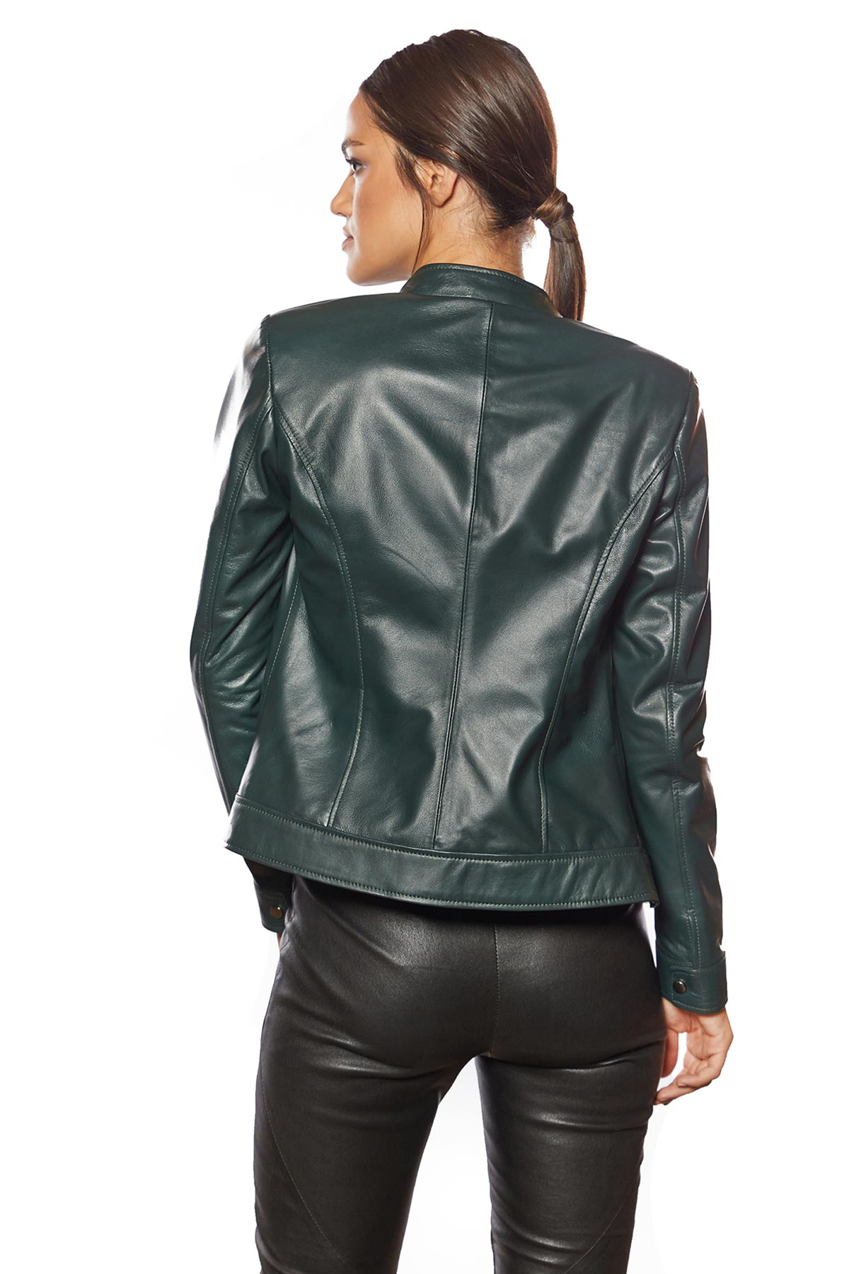green leather jacket womens