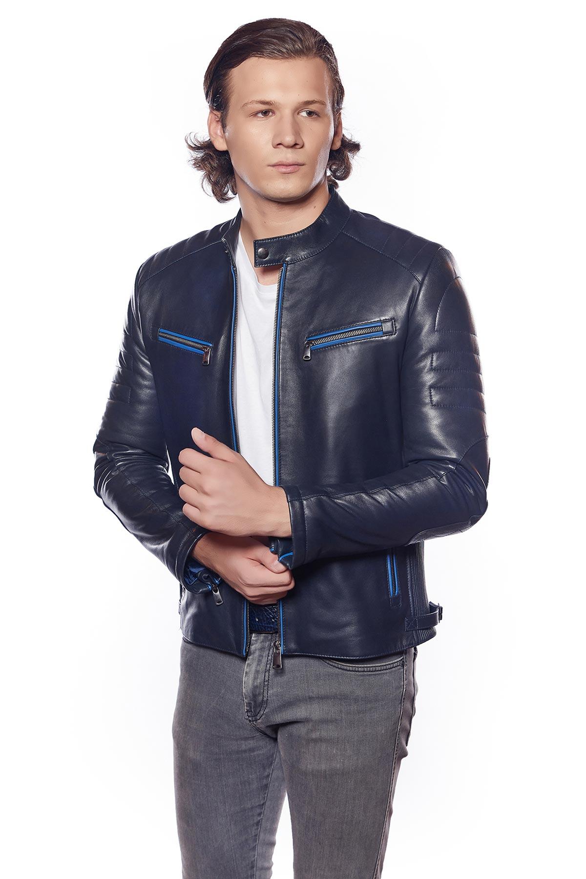 blue grey leather jacket