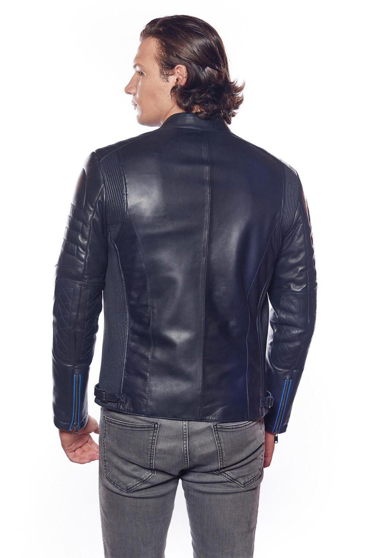 mens navy blue leather biker jacket