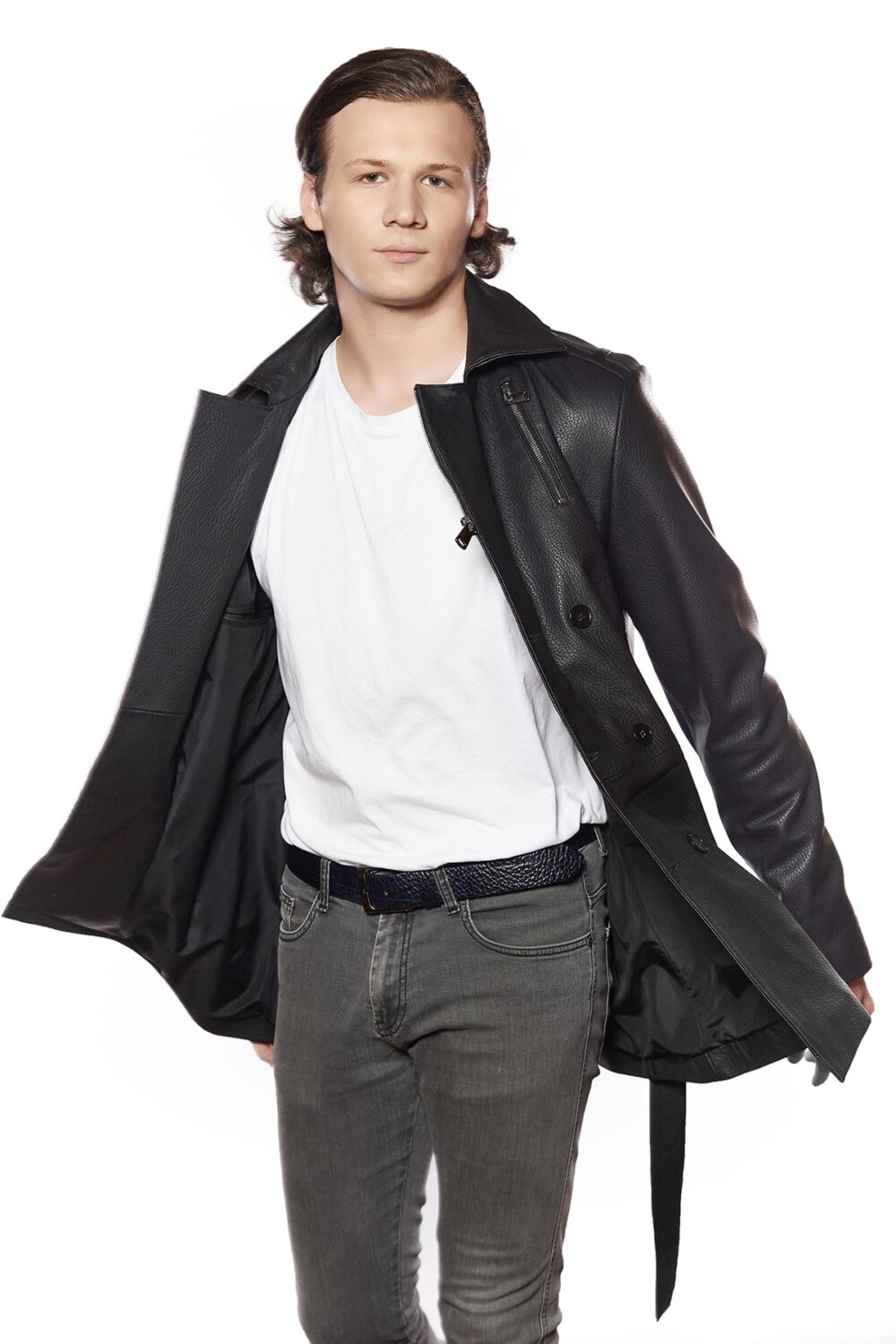 mens leather trench coat full length