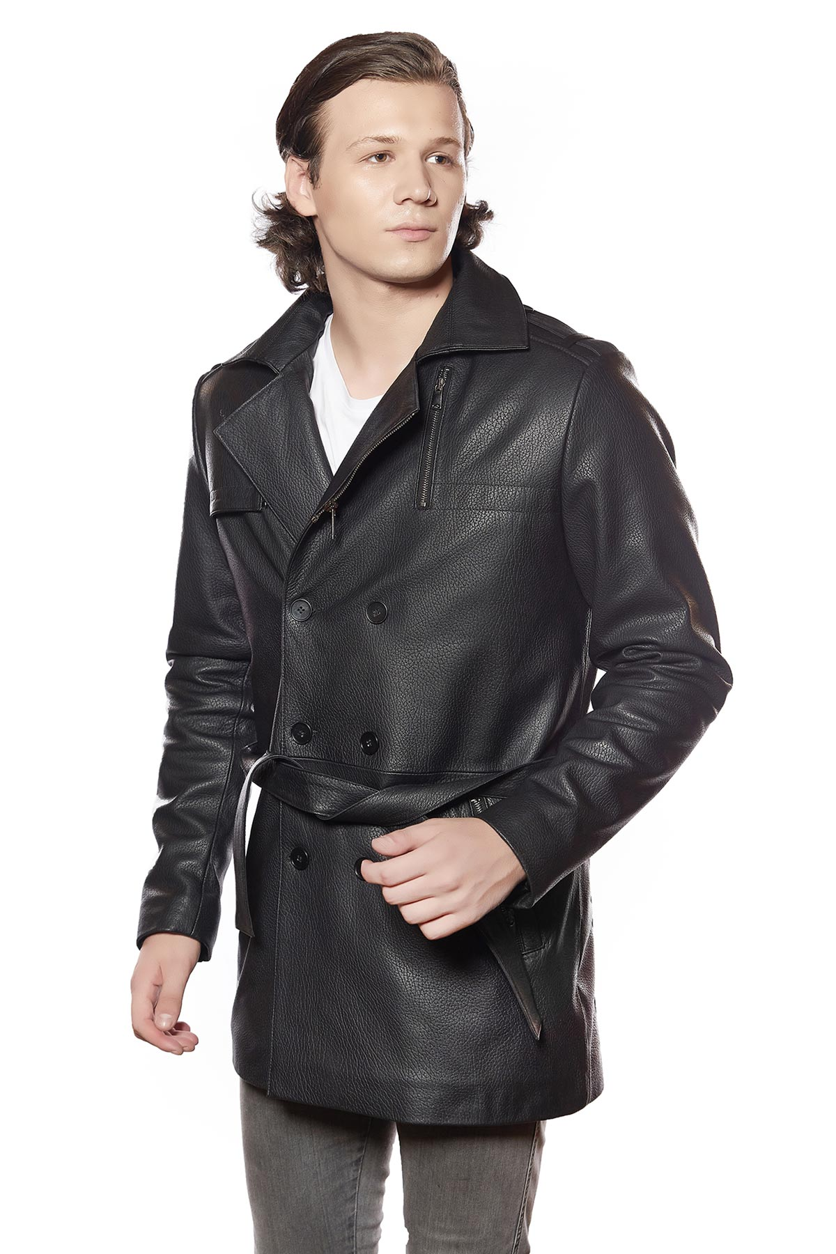 big and tall mens leather trench coat