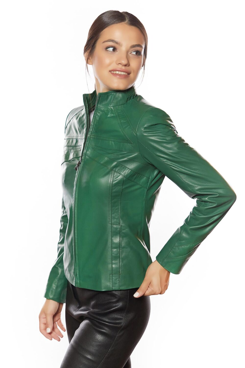 Cinzia Green Genuine Leather Jacket