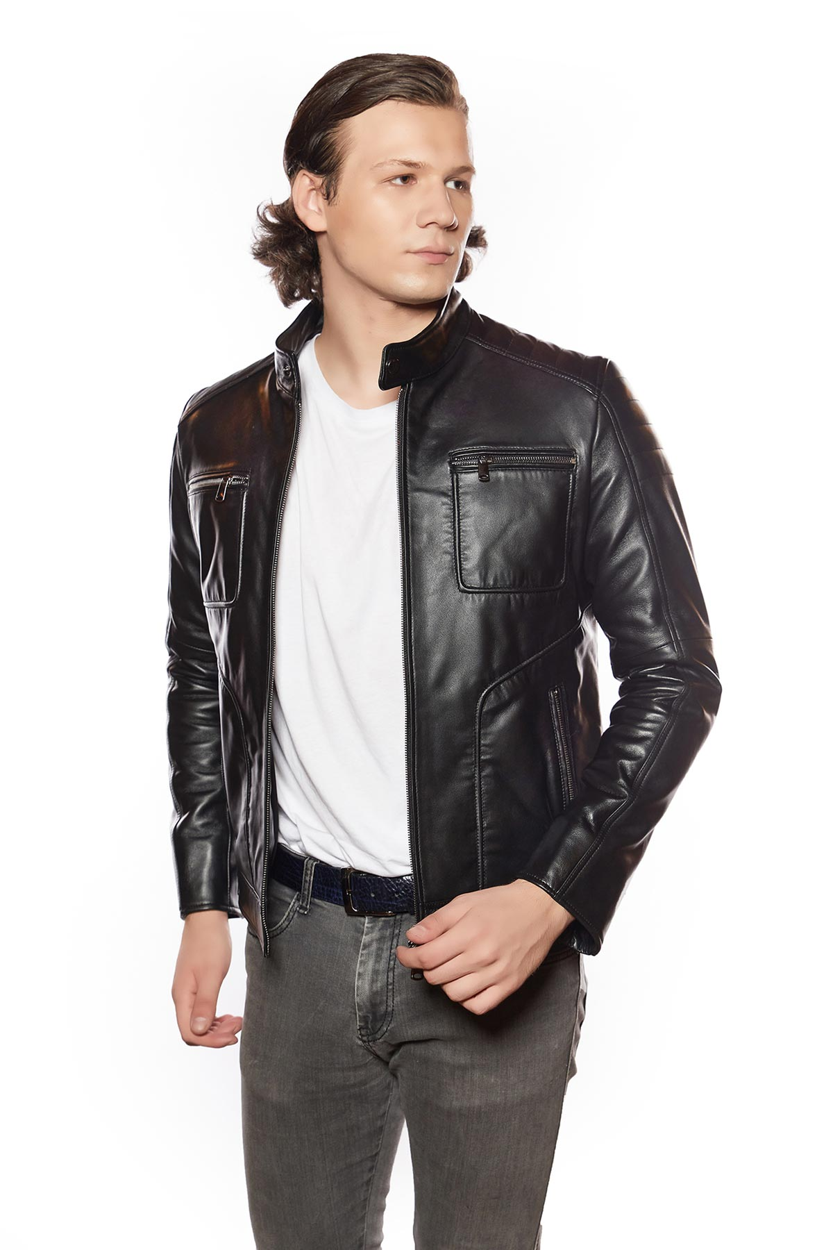 mens double breasted leather trench coat