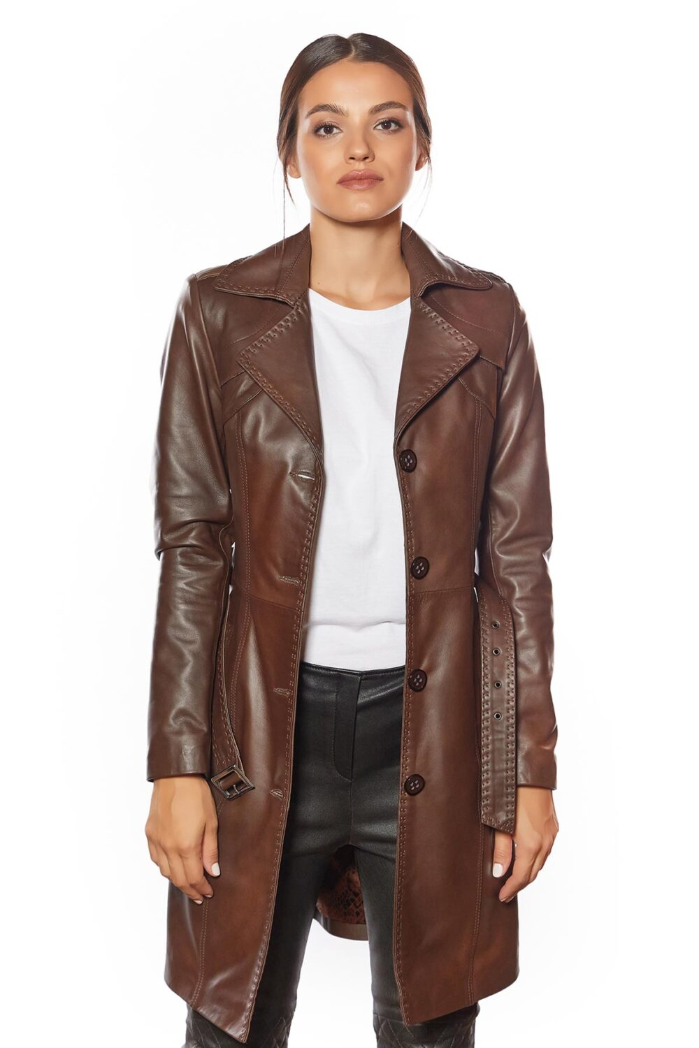 dark brown leather jacket outfit women's