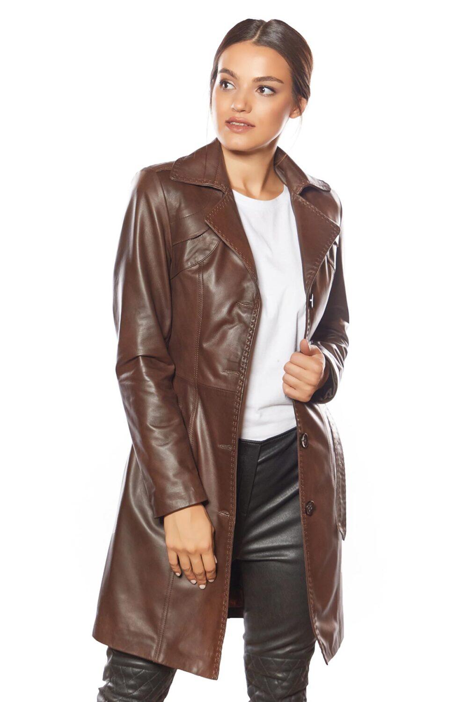 Jammi Brown Leather Coat