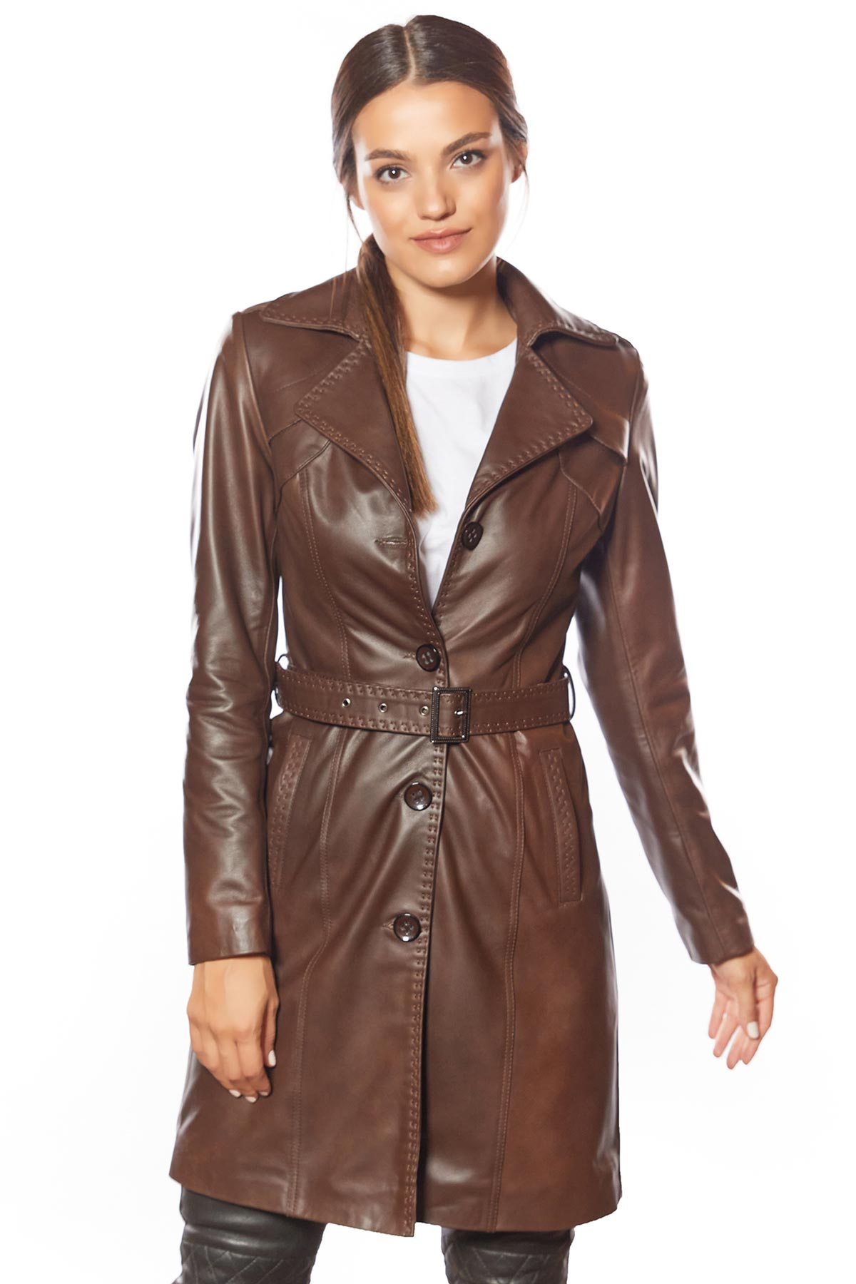 brown leather jacket female