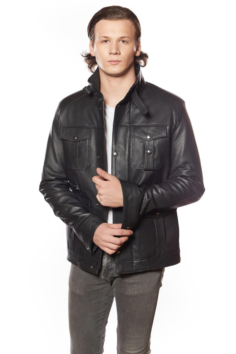 Magento Men's Leather Jacket Black