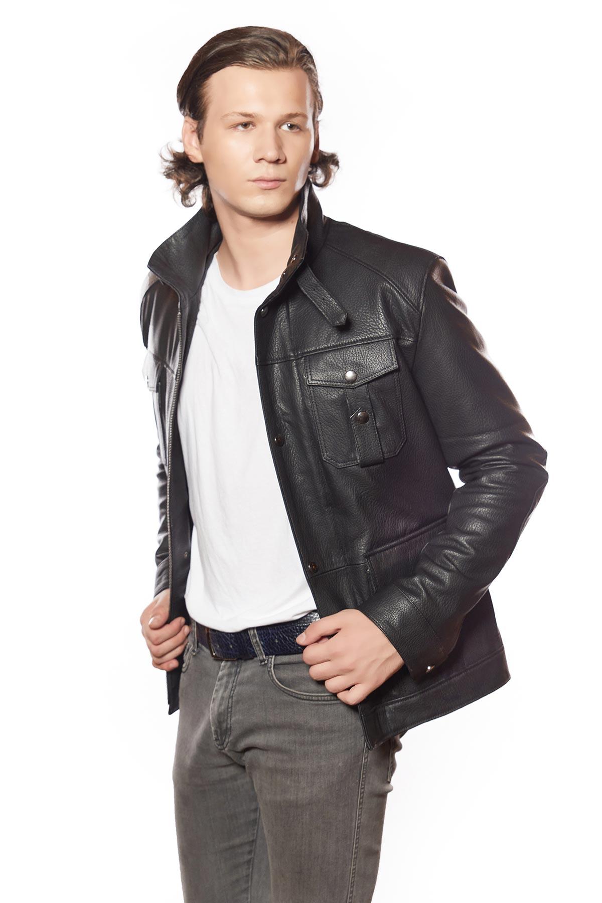 mens black leather dress jacket