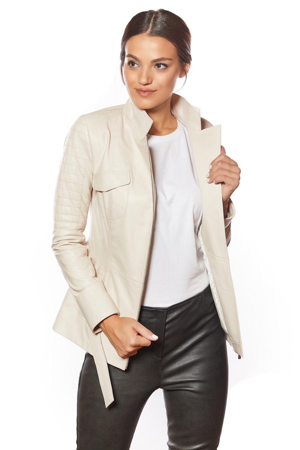 womens beige color leather jacket for sale