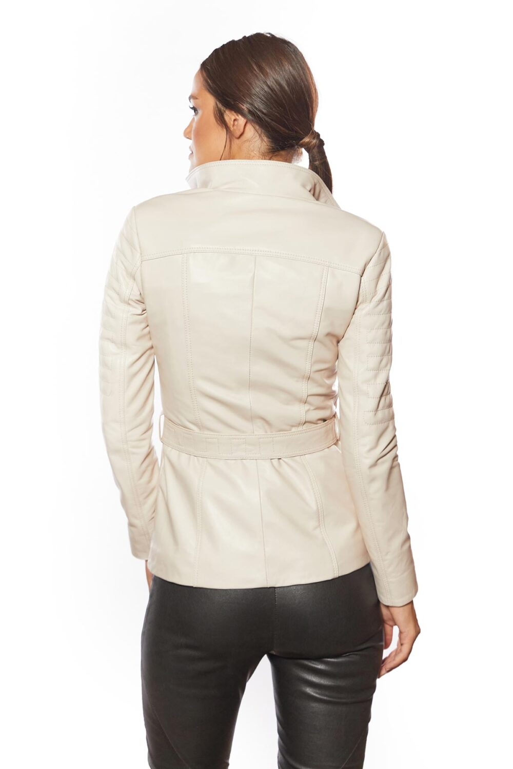 classic womes beige leather coat for sale