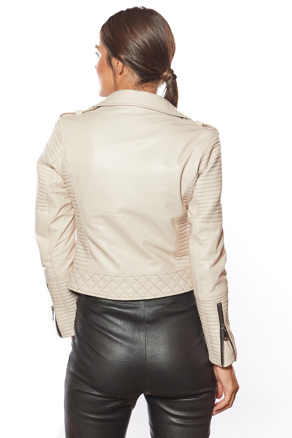 lined leather jacket womens