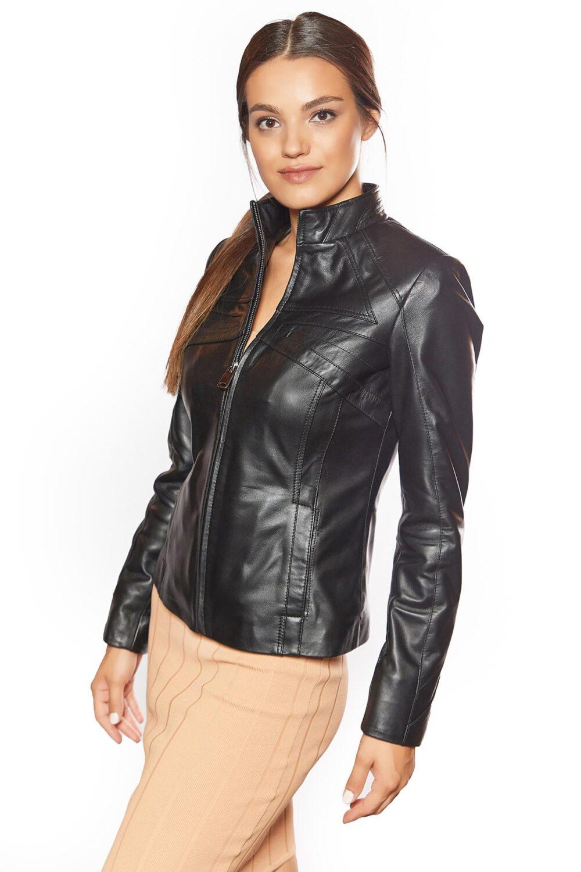 Cinzia Black Genuine Leather Jacket