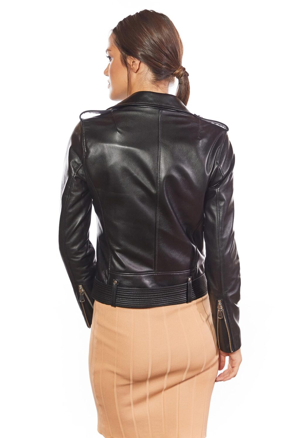 Belted Women Biker Black Leather Jacket