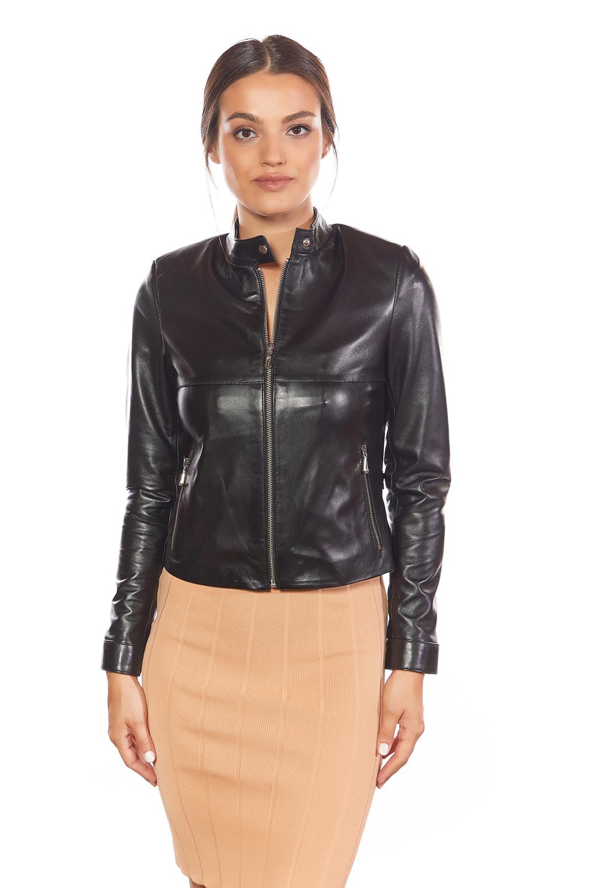 womens black real leather biker jacket