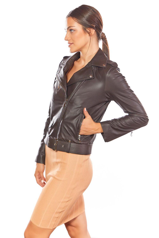 Women Biker Brown Leather Jacket With Belt
