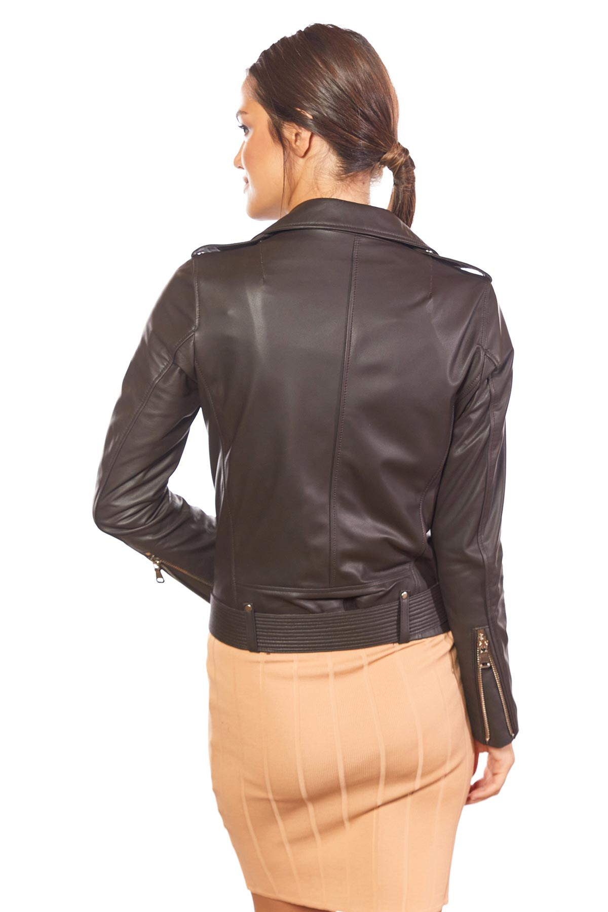brown leather coat womens