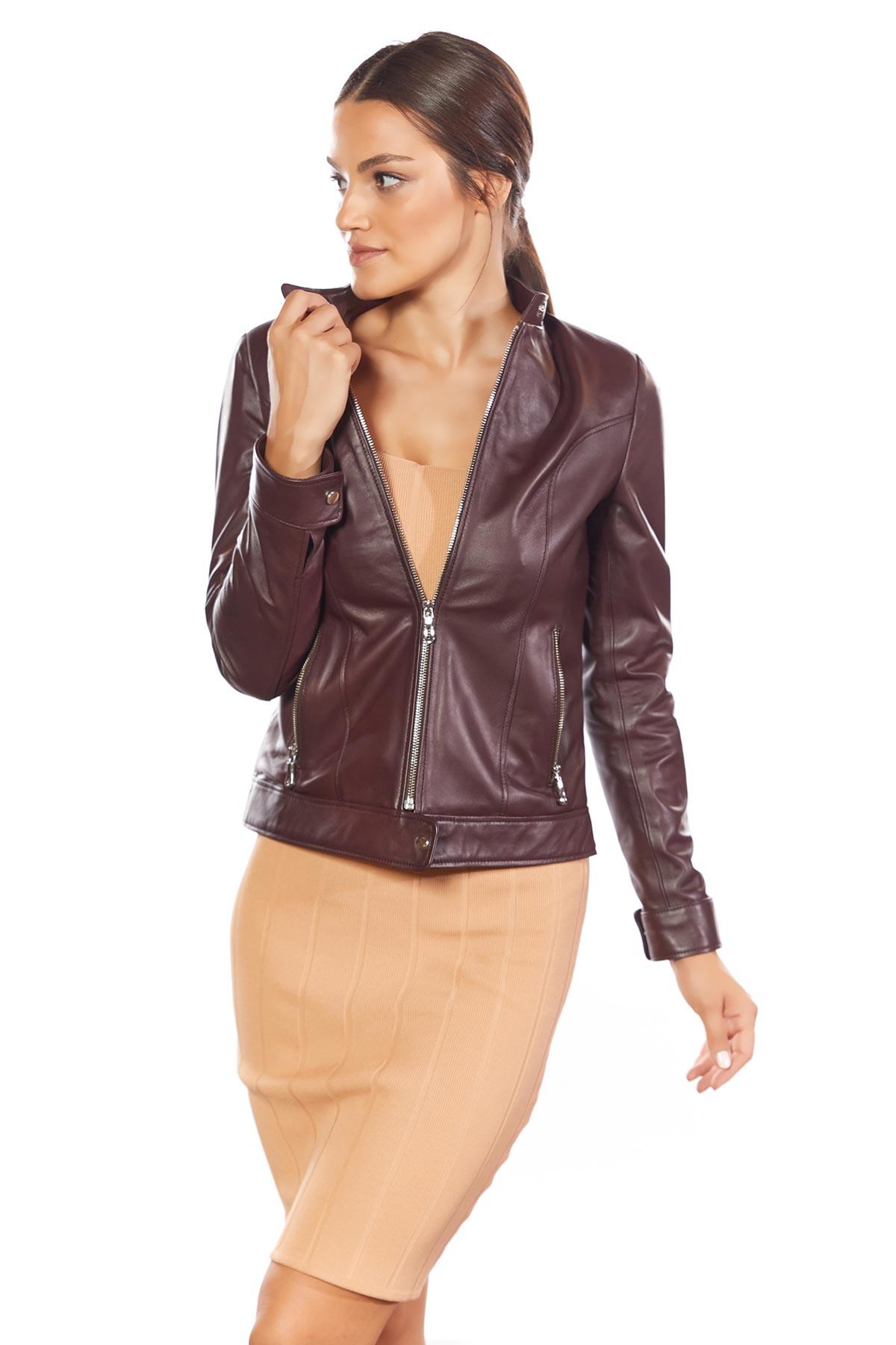 genuine leather oversized jacket