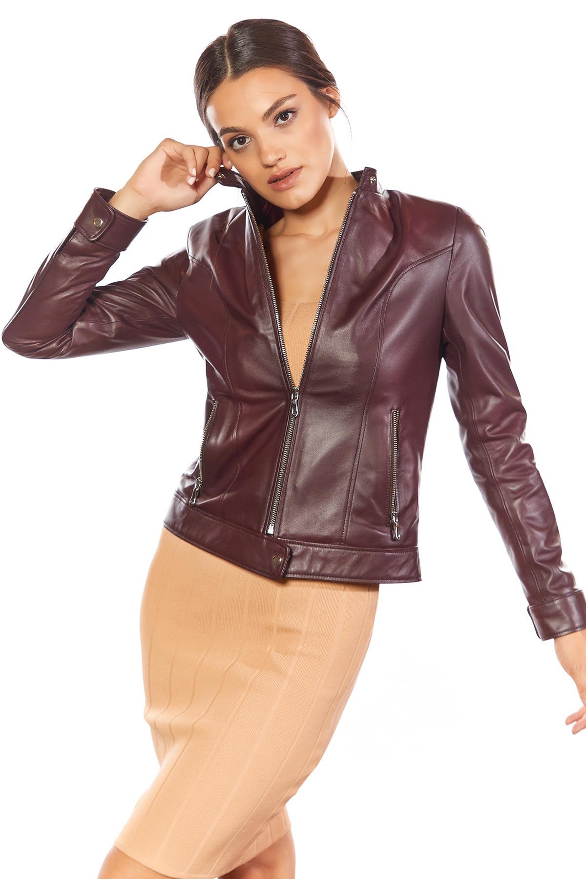 real leather biker jacket ladies