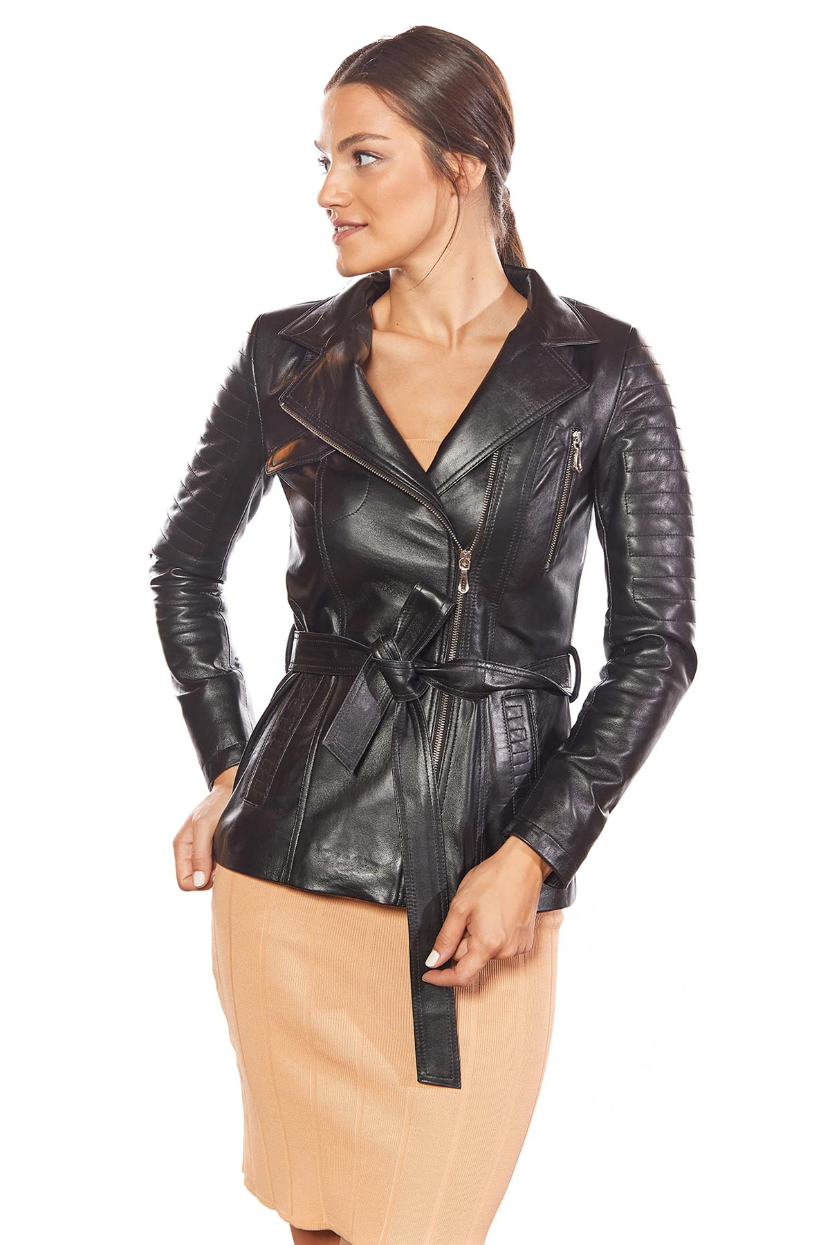 distressed leather trench coat
