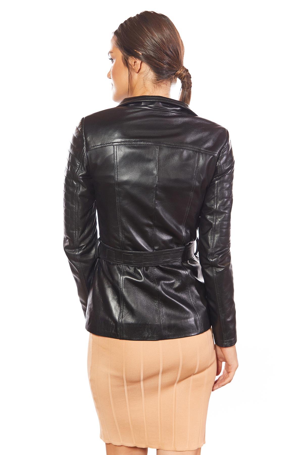 moto jacket with belt