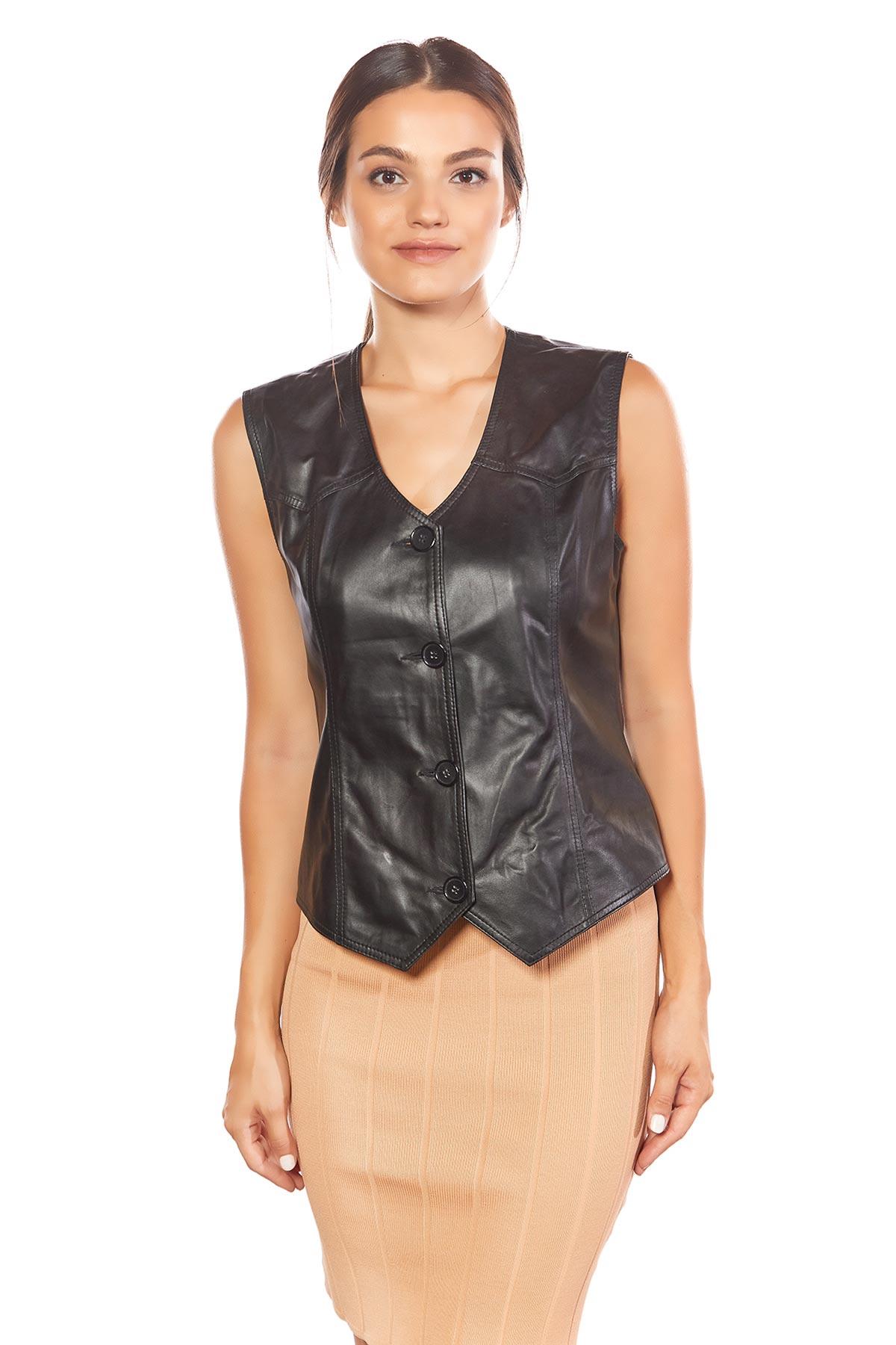 best womens leather vest sleeveless