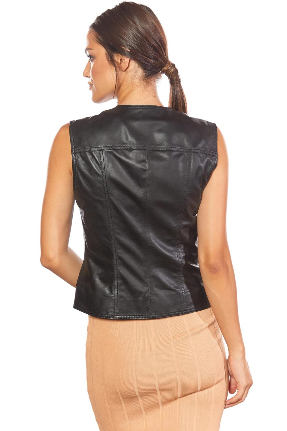 women's incredible black leather vest