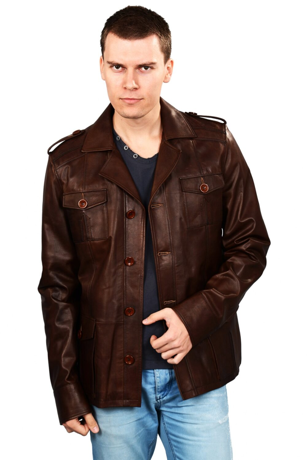 brown leather aviator jacket mens