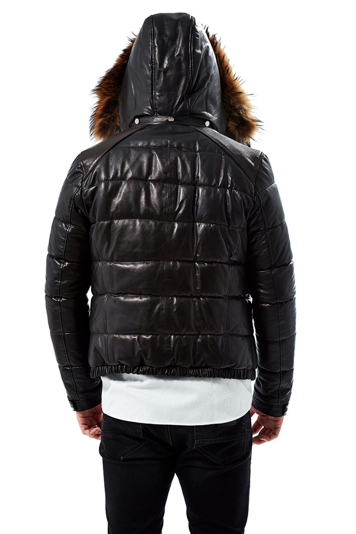 genuine leather jacket mens with hood