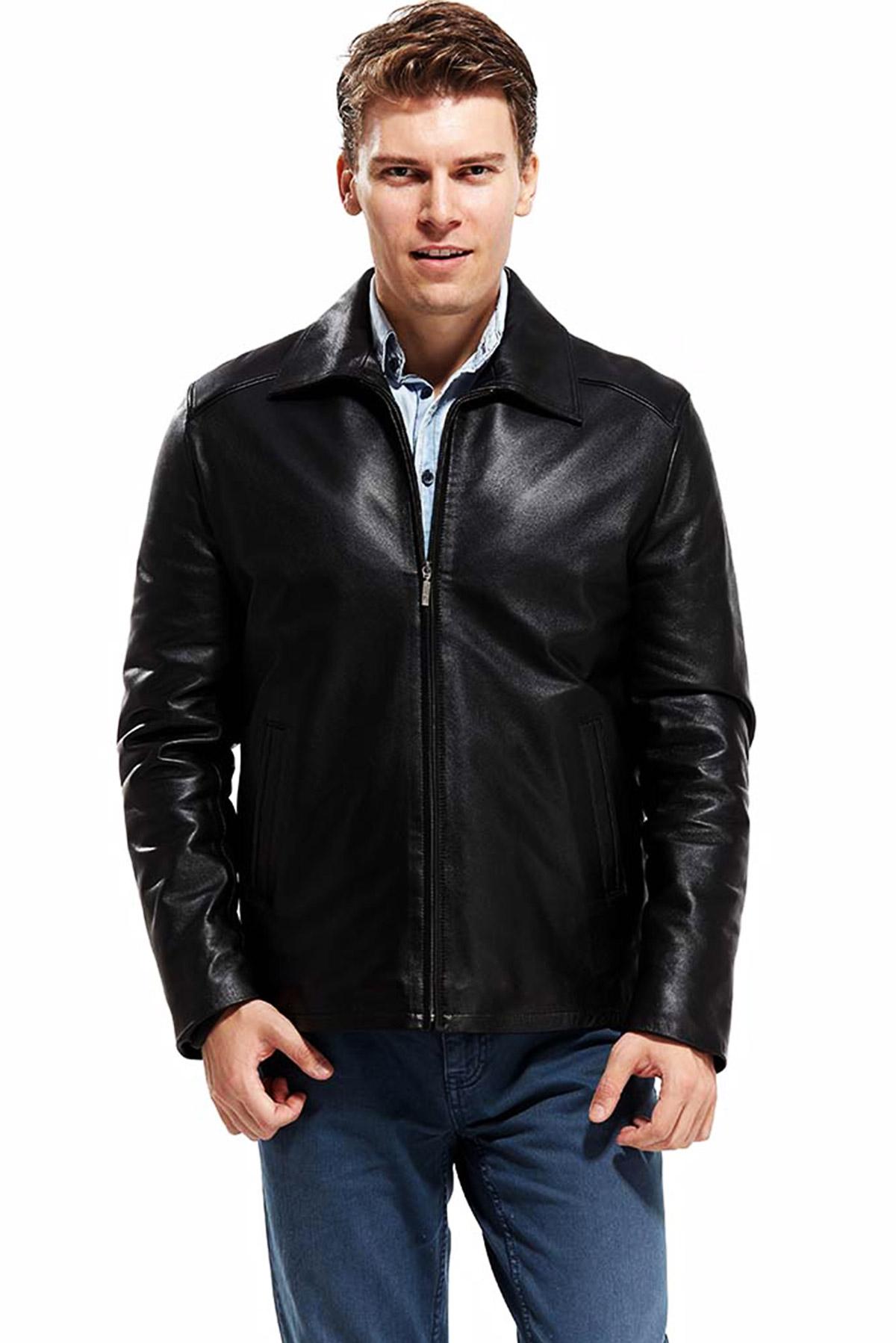 mens black leather blazer