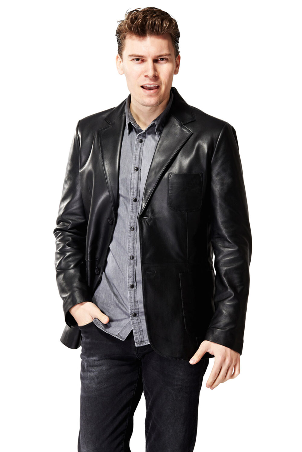 red leather jacket outfit men
