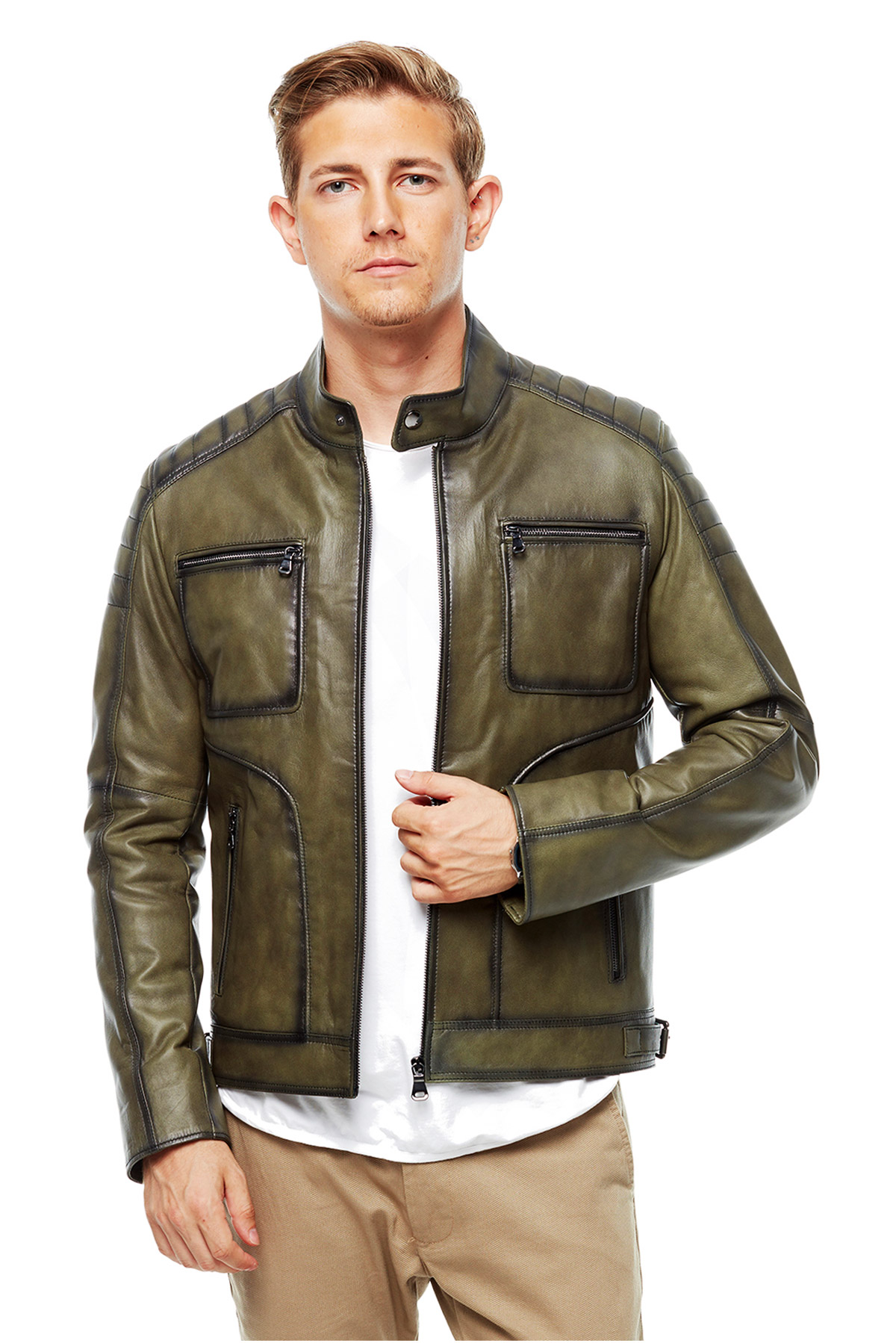 light green leather jacket