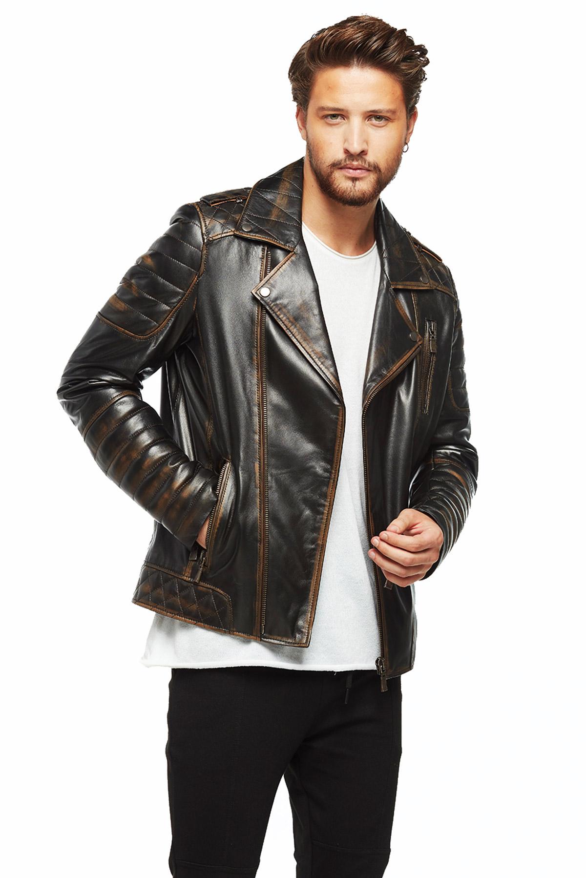 genuine leather biker jacket mens