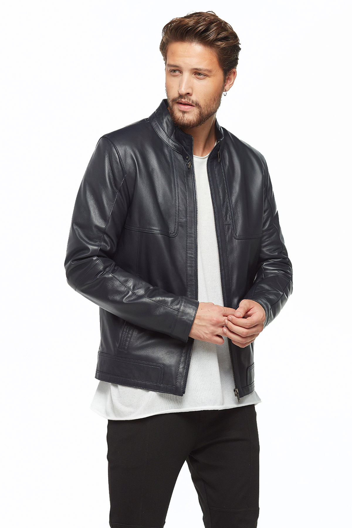 leather coat men