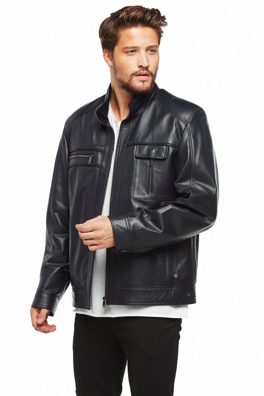 black leather blazer jacket mens