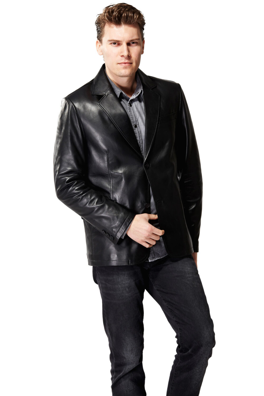 Gemini Black Men's Leather Jacket
